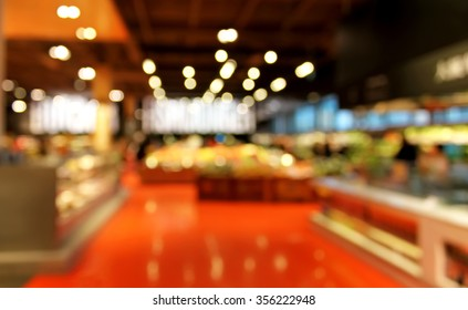 Grocery store blurred background with bokeh