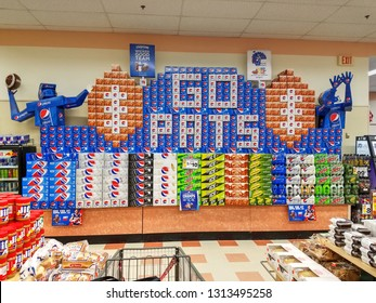 Grocery store Pepsi soda cans Patriots football display for Super Bowl Sunday, Danvers Massachusetts USA, January 29, 2018