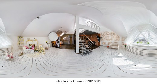 GRODNO, BELARUS - APRIL 04, 2016: Full 360 by 180 degree seamless panorama in equirectangular spherical projection. 360 panorama in interier white loft room photo studio of daylight decoration zone