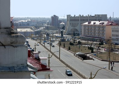Grodno, Belarus - April 18, 2013: Aerial view of the Soviet Square in Grodno on a sunny day.