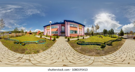 GRODNO, BELARUS -APRIL, 2016: Full seamless panorama 360 angle degrees view outside modern kindergarten in sunny summer day in equirectangular equidistant spherical panorama. skybox for VR AR content
