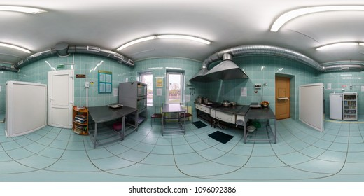 GRODNO, BELARUS - APRIL, 2016: full seamless panorama 360 by 180 angle view in interior of small kitchen room for cooking in equirectangular projection, skybox VR content