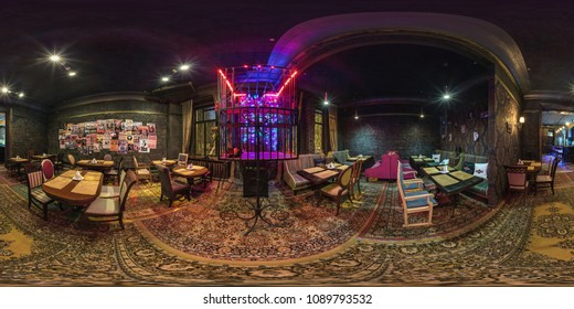 GRODNO, BELARUS - APRIL, 2017: full seamless panorama 360 angle view in interior of stylish hall nightclub bar in vintage style with cage for dancing  in equirectangular spherical projection.