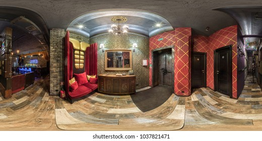 GRODNO, BELARUS - APRIL 3, 2017: 360 panorama in interior of stylish hall nightclub bar in red vintage style, VR content. full 360 degree panorama in equirectangular spherical equidistant projection.