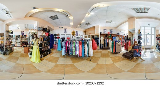 GRODNO, BELARUS - APRIL 8, 2017: Panorama 360 view in interior of shop of fashionable women clothes and shoes, full 360 by 180 degrees angle panorama in equirectangular projection, skybox VR content