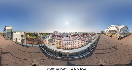 GRODNO, BELARUS - AUGUST, 2018: full seamless spherical hdri panorama 360 degrees angle view in cafe under canopy on roof of building overlooking old town in equirectangular projection. vr ar content
