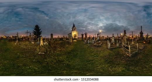 GRODNO, BELARUS - AUGUST, 2018: full seamless spherical hdri night panorama 360 degrees angle view on old cemetery with gravestones and monuments in equirectangular projection with zenith, VR content