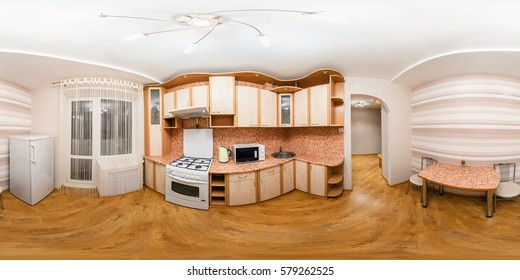 GRODNO, BELARUS - DECEMBER 19, 2012: Full 360 panorama in equirectangular spherical equidistant projection in interier modern loft kitchen room in light color