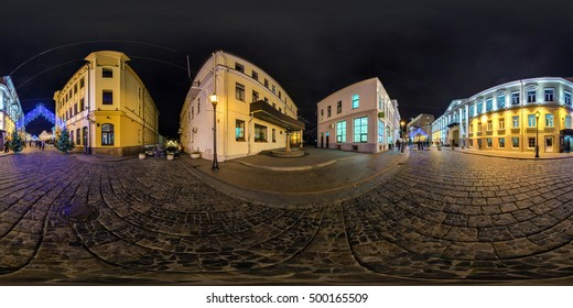 GRODNO, BELARUS - DECEMBER 20: full 360 by 180 degree seamless equirectangular equidistant photo panorama night city old town in New year. Skybox for VR AR content