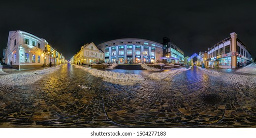 GRODNO, BELARUS - DECEMBER 2018: Full seamless night hdri panorama 360 degrees angle view on night street with illuminations on new Year in equirectangular projection, ready for VR AR virtual reality