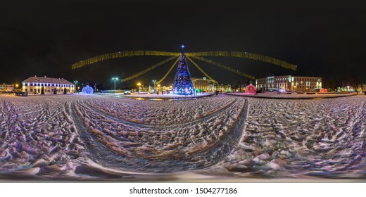 GRODNO, BELARUS - DECEMBER 2018: Full seamless night hdri panorama 360 degrees angle view on night Square with Christmas tree on new Year in equirectangular projection, ready for VR AR virtual reality