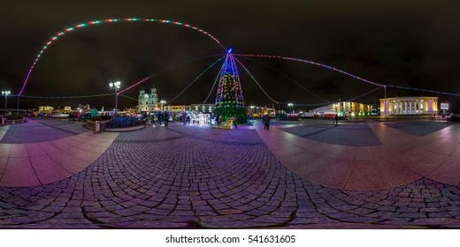 GRODNO, BELARUS - DECEMBER 24: Full 360 by 180 degree panorama in equirectangular projection on the night Square with Christmas tree on new Year. Skybox for VR AR content