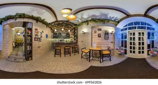 GRODNO, BELARUS - DECEMBER 31, 2016: panorama 360 angle in interior stylish cafe coffee bar. Full spherical 360 by 180 degrees view seamless panorama in equirectangular projection. skybox VR content