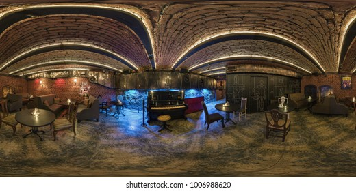 GRODNO , BELARUS - FEBRUARY 14, 2017: 360 angle panorama view inside interior of elite nightclub with a vintage piano. Full 360 by 180 degree seamless panorama in equirectangular spherical projection