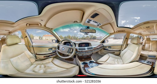 GRODNO, BELARUS - FEBRUARY 3, 2014: Full 360 by 180 degree angle equirectangular equidistant spherical panorama in the interior of prestige modern car bmw 750. 360 panorama as VR content