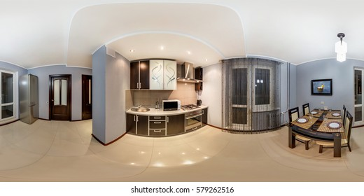 GRODNO, BELARUS - JANUARY 19, 2012: Full 360 panorama in equirectangular spherical equidistant projection in interier modern loft kitchen room witn grey brown style color