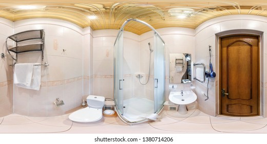 GRODNO, BELARUS - January, 2018: full seamless spherical Panorama 360 degrees in interior restroom bathroom with shower cabin in light style in hotel in equirectangular projection. vr ar content