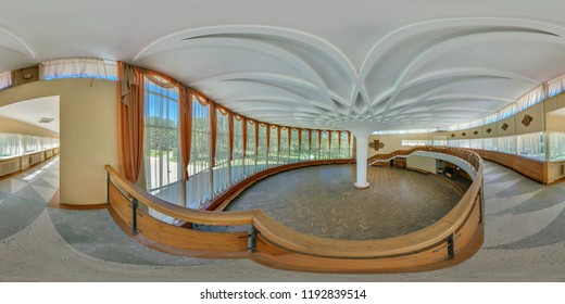 GRODNO, BELARUS - JULY, 2011:  Full 360 degree angle view seamless spherical panorama in interior dance hall with staircase in sanatorium equirectangular projection.  skybox for vr ar content