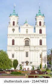 GRODNO, BELARUS - JULY 21: Cathedral on the main city square on 21 July, 2014 in Grodno, Belarus.