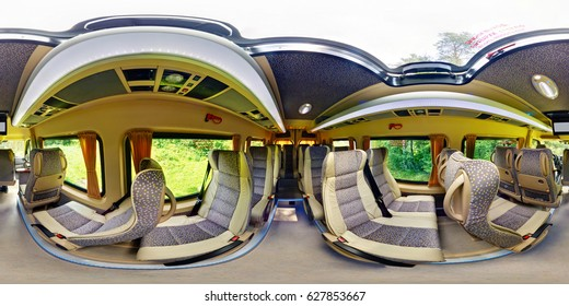 GRODNO, BELARUS - JULY 8, 2011:  Panorama of interior modern minibus,  full 360 degree seamless panorama in equirectangular spherical projection,  skybox VR content