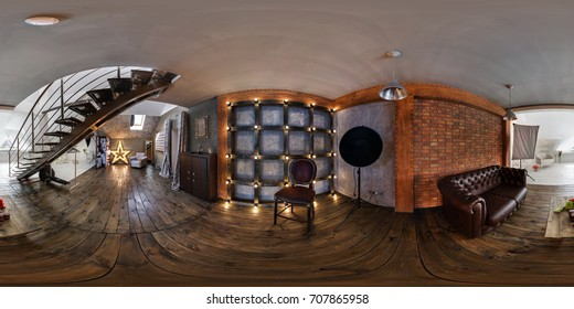 GRODNO, BELARUS - JUNE, 2016: Panorama 360 in interior modern photographic studio of daylight with stairs. Full spherical 360 by 180 degrees seamless panorama equirectangular projection. AR VR content