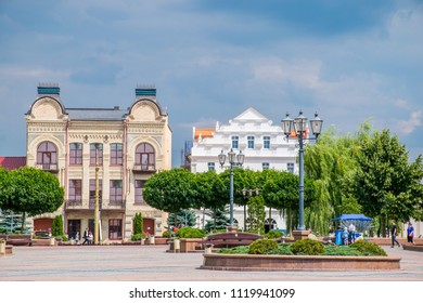 Grodno / Belarus - June 2018: The main square of Grodno town in cloudy summer day. Best destination for holyday in Belarus.