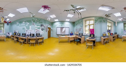 GRODNO, BELARUS - JUNE 2019: full seamless spherical hdri panorama 360 degrees angle view in interior computer class in university design office in equirectangular projection, VR content