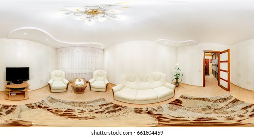 GRODNO, BELARUS - MARCH 20, 2013: Full spherical 360 degrees seamless panorama in equirectangular equidistant projection, panorama in interior of guestroom hall in modern flat apartments, VR content