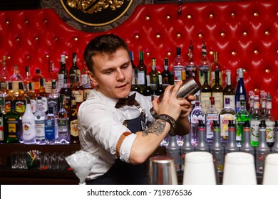 Grodno, Belarus - May 06, 2017: The bartender working in the London bar