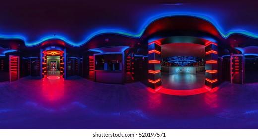 GRODNO, BELARUS - MAY 12, 2013: Full 360 degree equirectangular spherical panorama in stylish night club BAZA. Grodno, Belarus. May 12, 2013