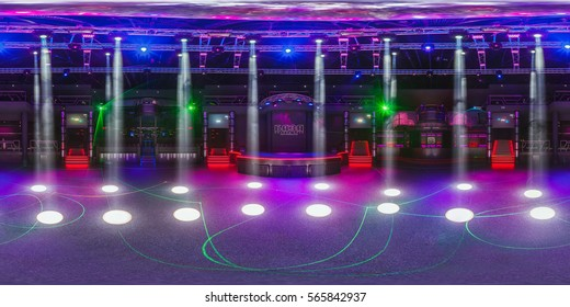 GRODNO, BELARUS - MAY 12, 2013: Full 360 equirectangular spherical equidistant panorama in stylish night club BAZA.