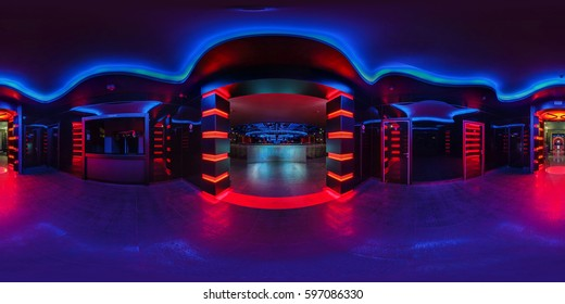 GRODNO, BELARUS - MAY 12, 2013: Full 360 by 180 degrees angle seamless equirectangular spherical panorama in interior of stylish night club BAZA with red and blue neon light. VR content