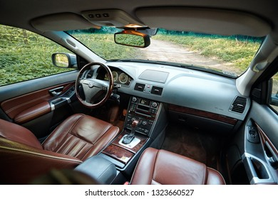 GRODNO, BELARUS - MAY 2015: Volvo XC90 4.4 v8 1st generation restyling 4WD SUV premium car interior brown leather with forest view