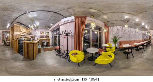 GRODNO, BELARUS - MAY 2019:  seamless spherical hdri panorama 360 degrees angle inside interior of stylish vintage cafe coffee bar in equirectangular projection, VR content