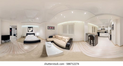 GRODNO, BELARUS - NOVEMBER 12, 2012: Full spherical 360 degrees panorama in equirectangular projection, seamless panorama of kitchen and bedroom interior loft minimalist style design, VR content