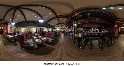 GRODNO, BELARUS - NOVEMBER, 2018: Full spherical seamless panorama 360 degrees in interior stylish chester vintage restaurant nightclub bar in equirectangular equidistant projection. VR content