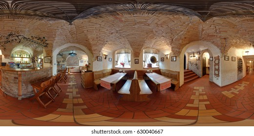 GRODNO, BELARUS - SEPTEMBER 11, 2011: Full 360 degree seamless panorama in equirectangular spherical projection. Panorama in interior of cafe in vintage folk style in old cave