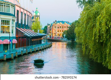 Groenburgwal canal in the old city of Amsterdam, Netherlands, North Holland province.