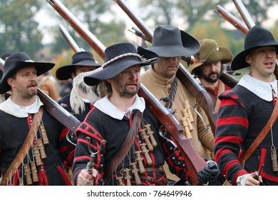 GROENLO, THE NETHERLANDS OCTOBER 24, 2015: : Reenactment battle of Grolle. Historic battle between the spanish and the dutch army in 1627.