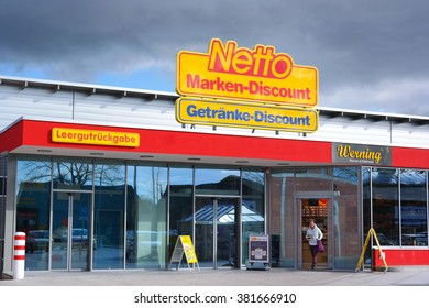 GRONAU, GERMANY - FEBRUARY 23, 2016: Branch of Netto Marken-Discount, a German supermarket chain, part of Edeka Group. Netto Marken-Discount retail concept is to offer well-known brands at low prices
