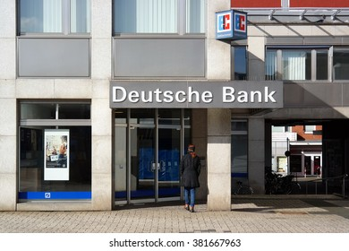GRONAU, GERMANY - FEBRUARY 23, 2016: Affiliate of Deutsche Bank AG, a German global banking and financial services company, one of European leading banks and has been involved in financial scandals.