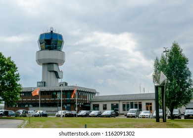 GRONINGEN AIRPORT EELDE, NETHERLANDS, AUGUST 15, 2018: Air traffic control tower on Groningen Eelde Airport International, Netherlands