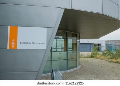 GRONINGEN AIRPORT EELDE, NETHERLANDS, AUGUST 15, 2018: The main entrance of Koninklijke Marechaussee at Groningen Airport Eelde