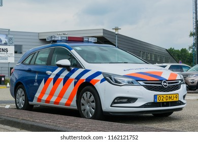 GRONINGEN AIRPORT EELDE, NETHERLANDS, Royal Dutch Marechaussee guarding at Groningen Eelde Airport