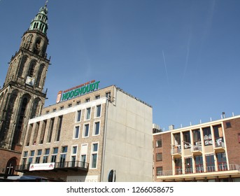 Groningen. April-16-2014. Martini tower with new and old student society in the city of Groningen. The Netherlands