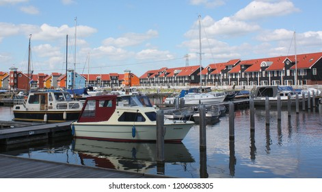 Groningen. April-28-2011. Many boats and on the background pierhouses in the Reitdiephaven of Groningen.The Netherlands