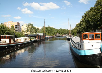 Groningen. August-05-2015. Houseboats in a canal in the city of Groningen. The Netherlands