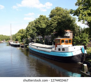 Groningen. August-05-2015. Houseboats in a canal of the city Groningen. The Netherlands