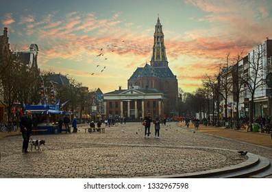 Groningen City of bikes in Netherlands -  Groninigen vismarkt  Groningen - Netherlands - 2018-6-6