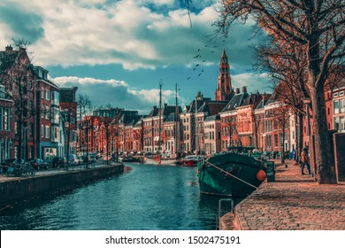 Groningen city of canals  and Boats  Netherlands groningen city